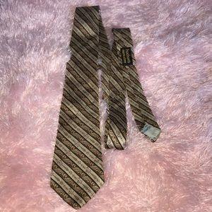 Yves Saint Laurent Brown & Tan silk men's tie